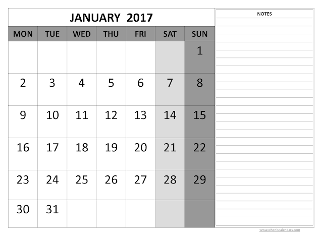 January 2017 Calendar, January 2017 Printable Calendar, January 2017 Blank Calendar, January 2017 Calendar Printable, January 2017 Holiday Calendar, January 2017 Calendar Template, January 2017 Calendar PDF, January Calendar 2017, Free January 2017 Calendar