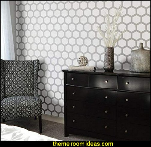 HEXAGON Furniture Wall Floor Stencil for Painting  bumble bee bedrooms - Bumble bee decor - Honey bee decor - decorating bumble bee home decor - Bumble Bee themed nursery - bee wallpaper mural decals - Honeycomb Stencil - hexagonal stencils - bees in springtime garden bedroom -  bee themed nursery - black yellow bedroom ideas - Hexagon pattern -