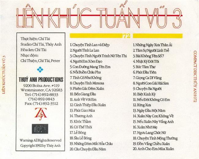 CD nhạc liên khúc Tuấn Vũ 3 (1995) [WAV]