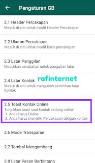 Cara memunculkan tulisan online di layar dengan toast kontak online
