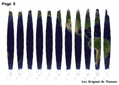 Map monde en papercraft en origami