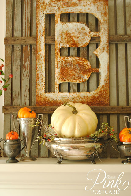 Pink Postcard- Fall Mantel-Treasure Hunt Thursday- From My Front Porch To Yours