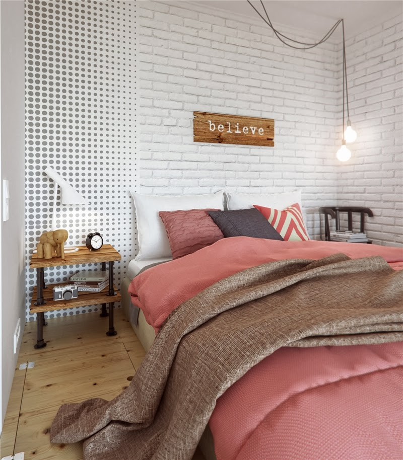 Mieszkanie w skandynawskim stylu z pastelowymi dodatkami, wystrój wnętrz, wnętrza, urządzanie domu, dekoracje wnętrz, aranżacja wnętrz, inspiracje wnętrz,interior design , dom i wnętrze, aranżacja mieszkania, modne wnętrza, styl skandynawski, scandinavian style, pastelowe kolory, małe wnętrza, kawalerka, sypialnia