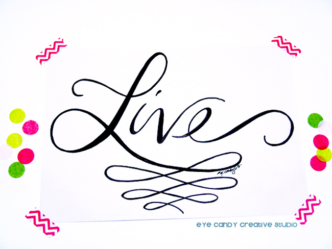 live, one little word, art print, hope, #OLW, hand lettering, custom art