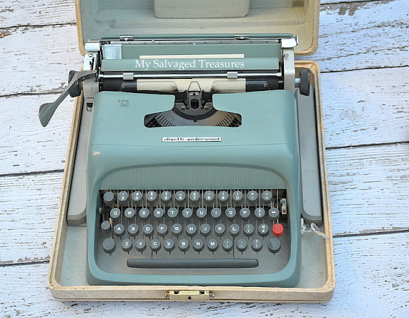 blue vintage typewriter