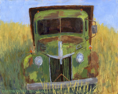 art painting acrylic truck abandoned rusty Ford