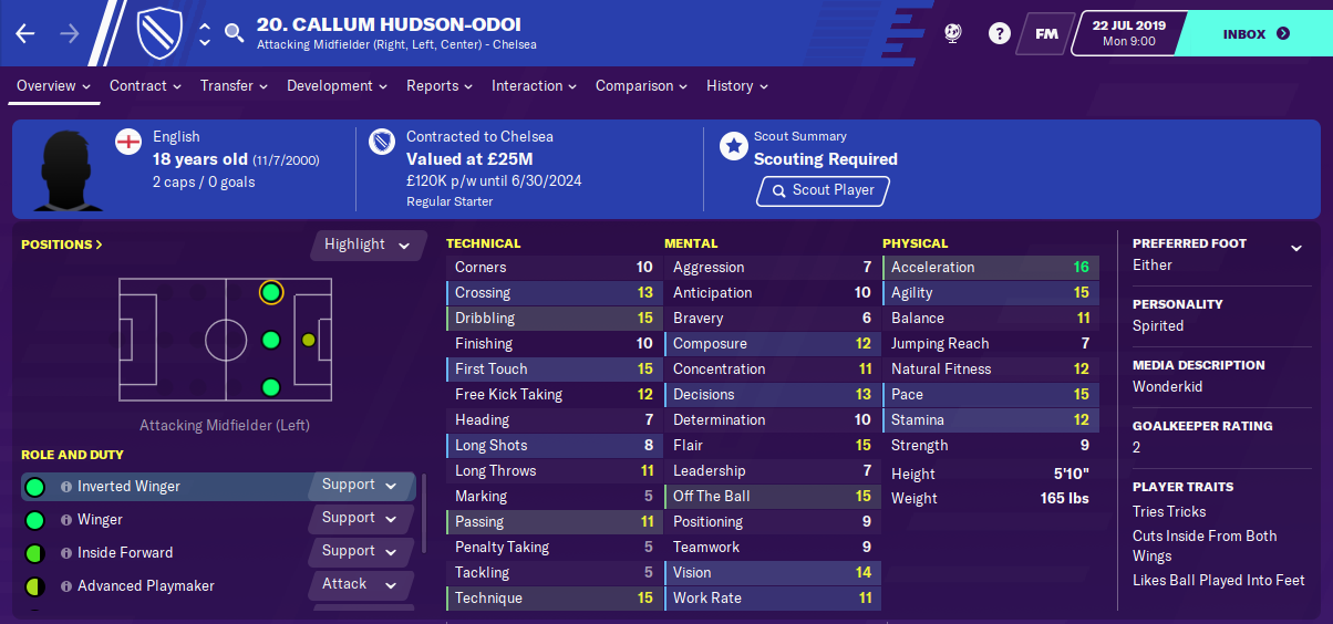 Callum Hudson-Odoi: Starting Attributes in FM2020