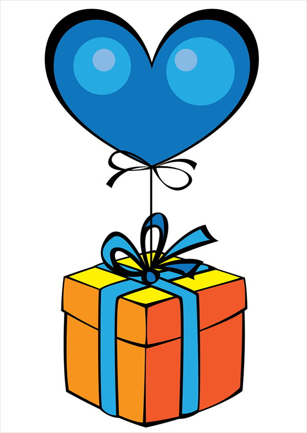 Gift with blue heart balloon