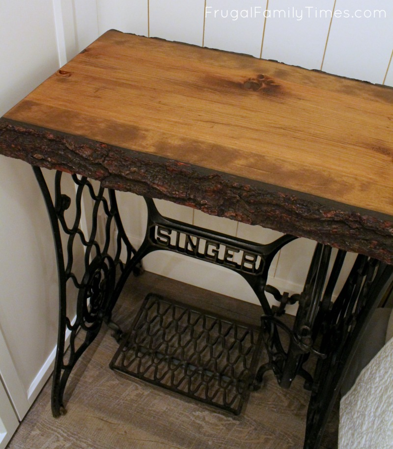 Antique Treadle Sewing Machine Base Live Edge Wood Top = Eclectic Fascinating Sewing Machine Treadle Base