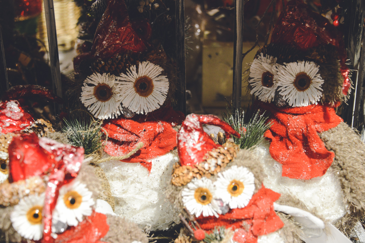 owls Christmas winter holiday decorations