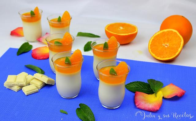 Vasitos de chocolate blanco y caramelo de naranja. Julia y sus recetas