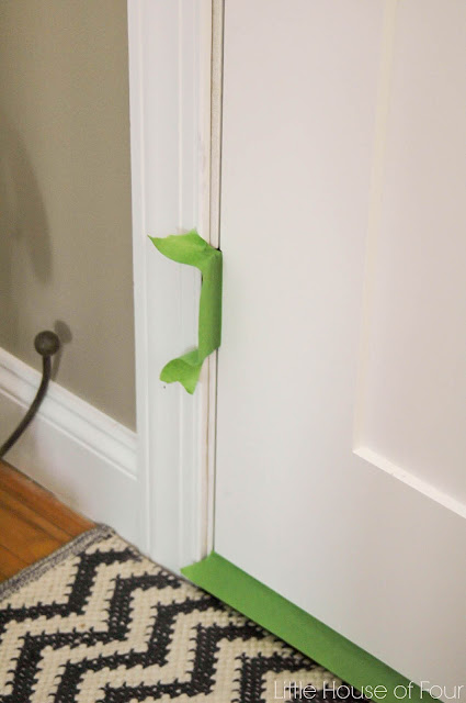 Tape off door hinges with painters tape