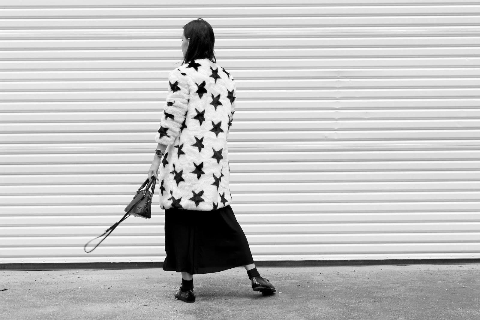 slip dress, spring 2016, street style, spring outfit, faux fur jacket, star print, star jacket, loafers, socks and heels, socks and loafers, mules, mini bag, pajama dressing, tourdestfu