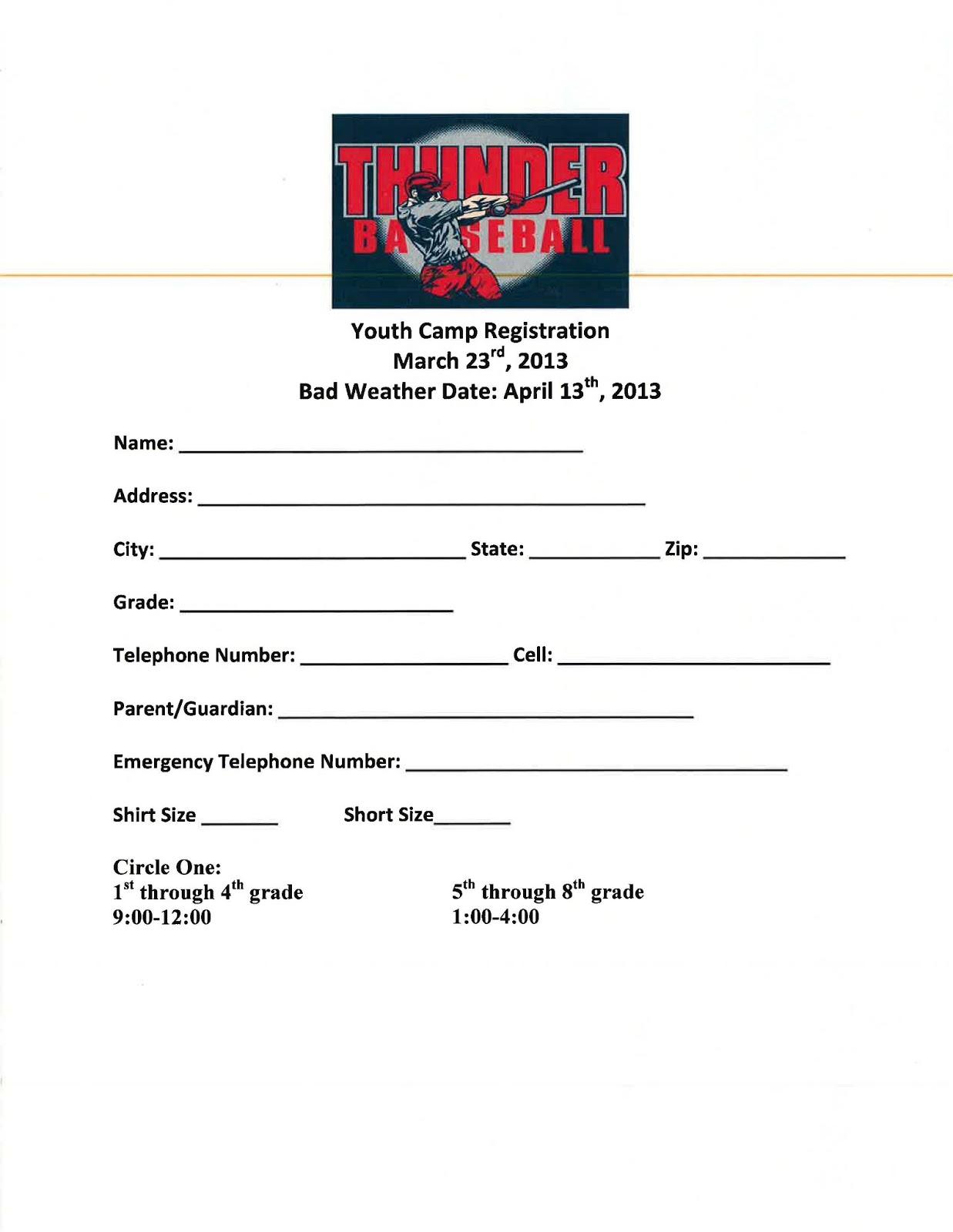 Dr Cernys B R Hype Thunder Baseball Youth Camp Sign Up Sheets