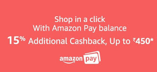 Shop with Amazon Pay Balance and get 15% cash back Upto Rs.450(Amazon Pay Balance Offers)