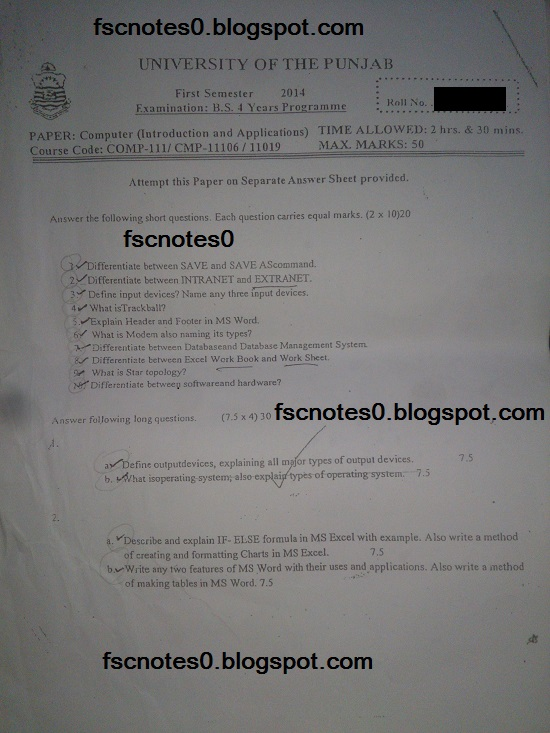 BS (Hons) Chemistry Past Papers Semester 1 Computer (Introduction and Application) fscnotes0 Asad Hussain 3