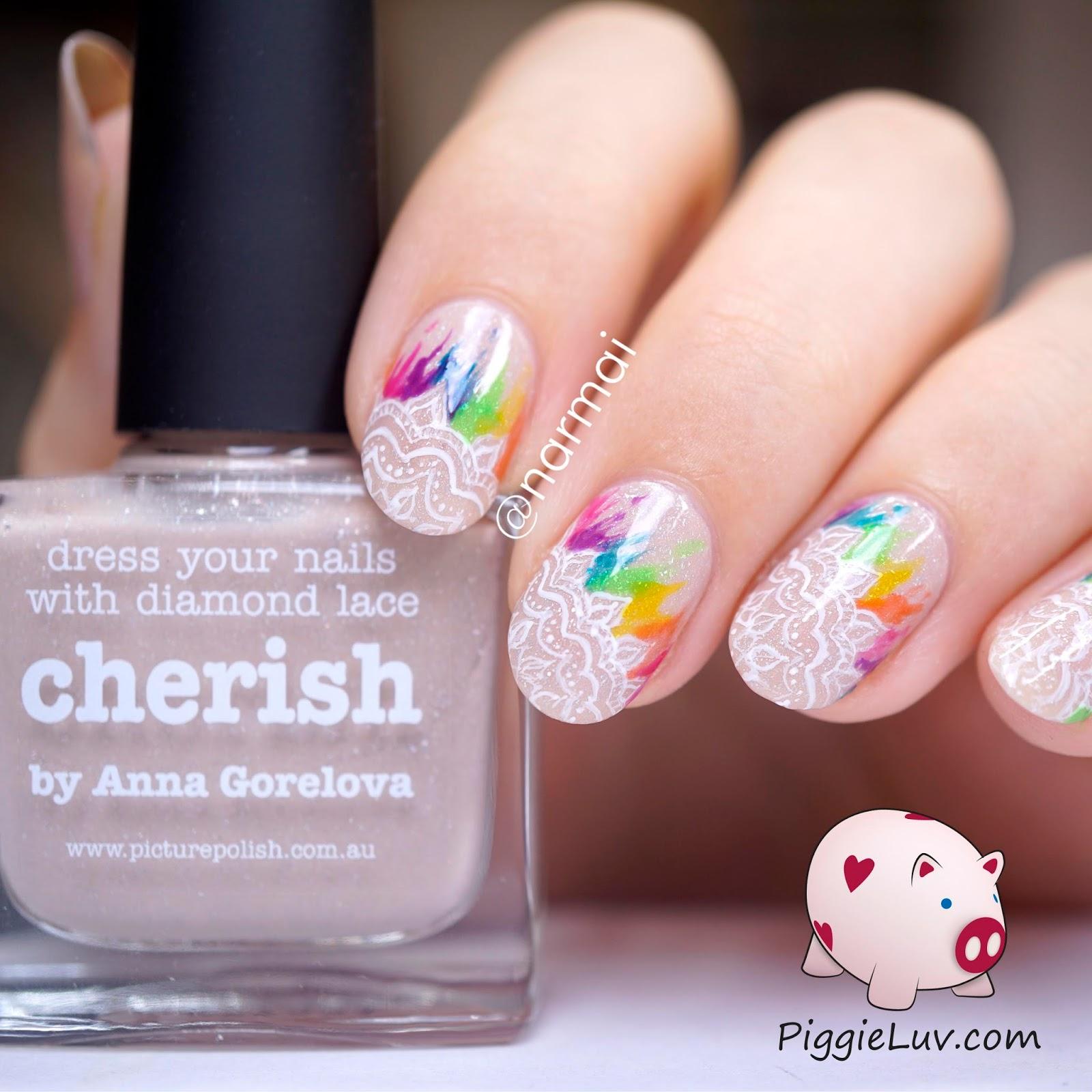 Piggieluv Rainbow Bubbles Nail Art: PiggieLuv: Rainbow Lace Bridal Style Nail Art With OPI