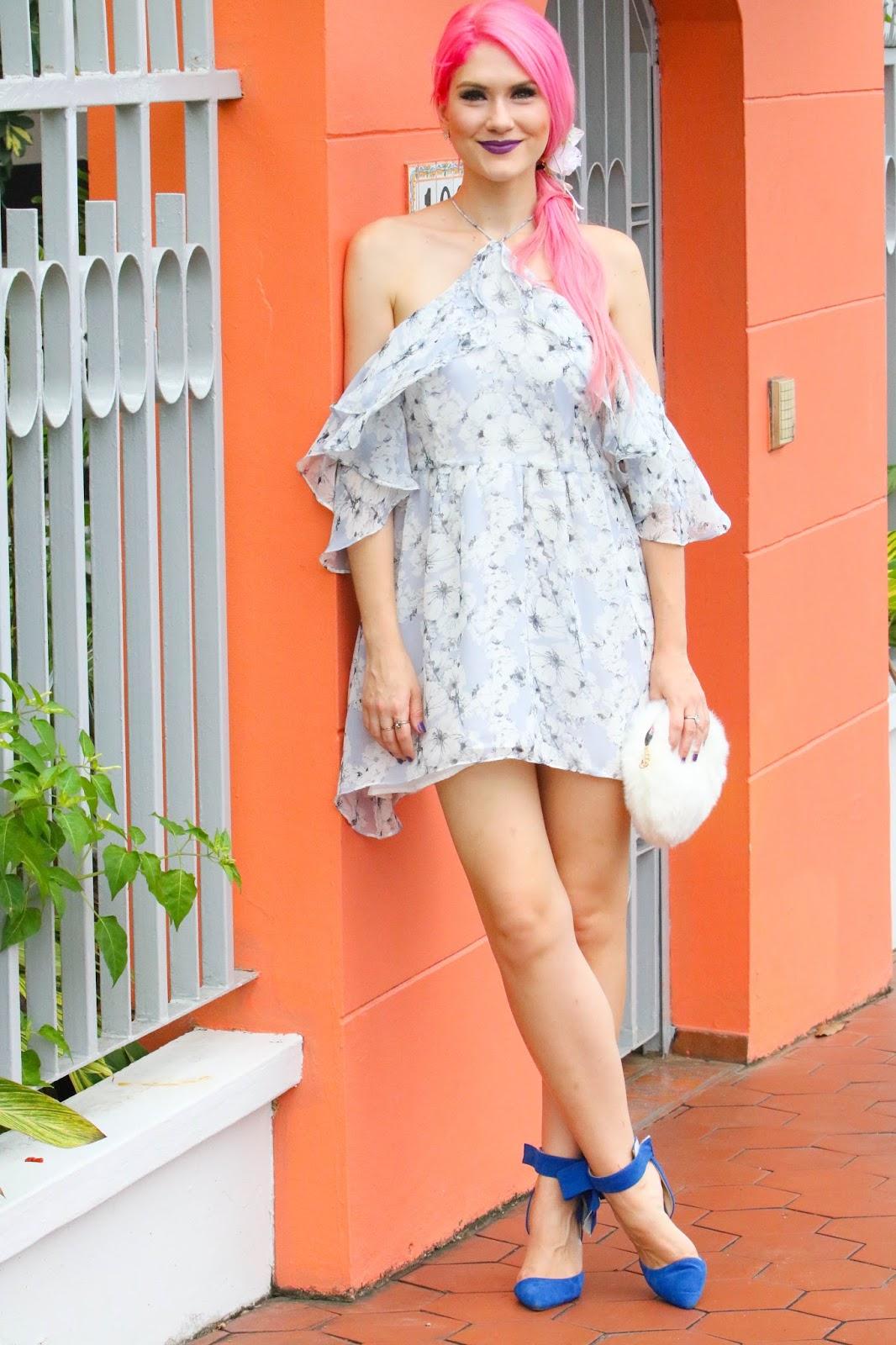 Pretty off shoulder floral dress outfit