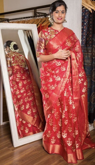 Red Tissue Silk Gold Work Saree