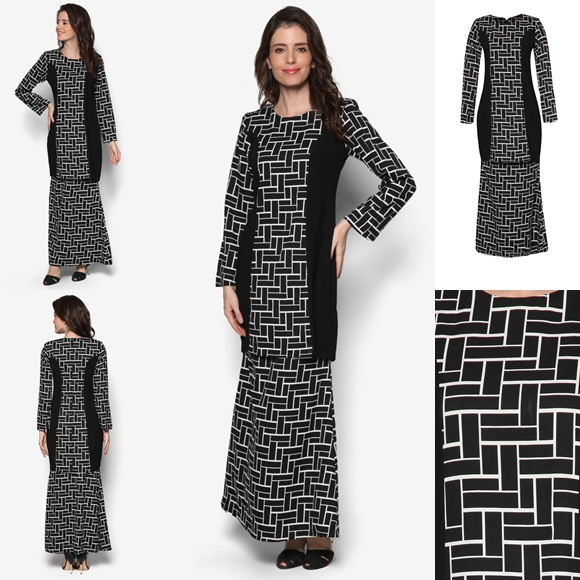 Fesyen Baju Kurung Moden Terkini Black White Monochrome Zinnia By Butik Sireh Pinang