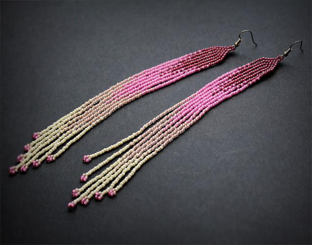 очень длинные серьги купить в интернет магазине стильной бисерной бижутерии