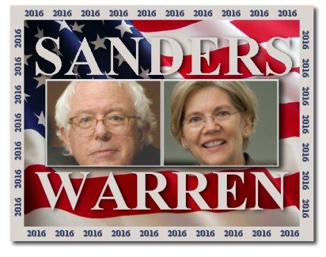 Elizabeth Warren and Bernie Sanders in 2016