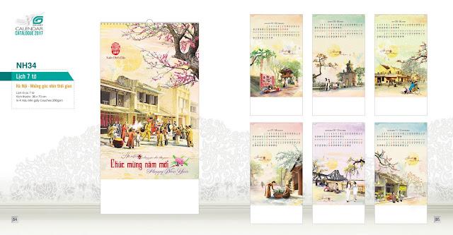 NH34 - ha noi - nhung goc pho thoi gian , Lịch treo tường 7 tờ, in lịch, mẫu lịch đẹp, mẫu lịch phong cảnh, lich ha noi