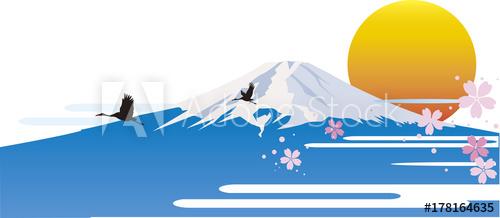 風景イラスト、和風、和風景、ストックイラスト、富士山イラスト、インバウンド