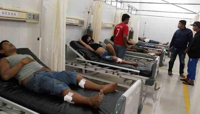 Kelima tersangka perampokan di Damosir yang ditembak polisi saat dirawat di rumah sakit.