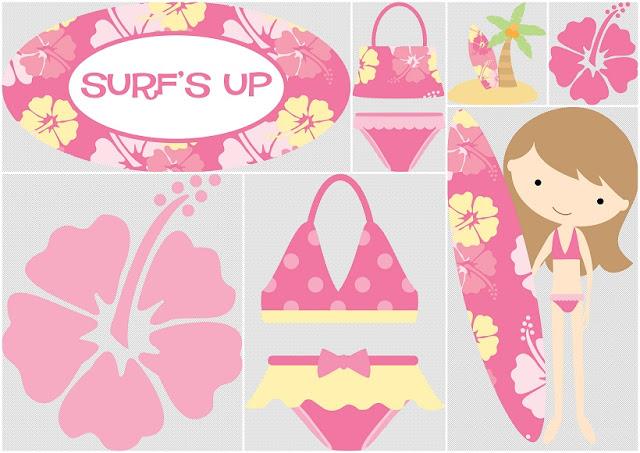 Divertido Clipart de Chicas haciendo Surf.