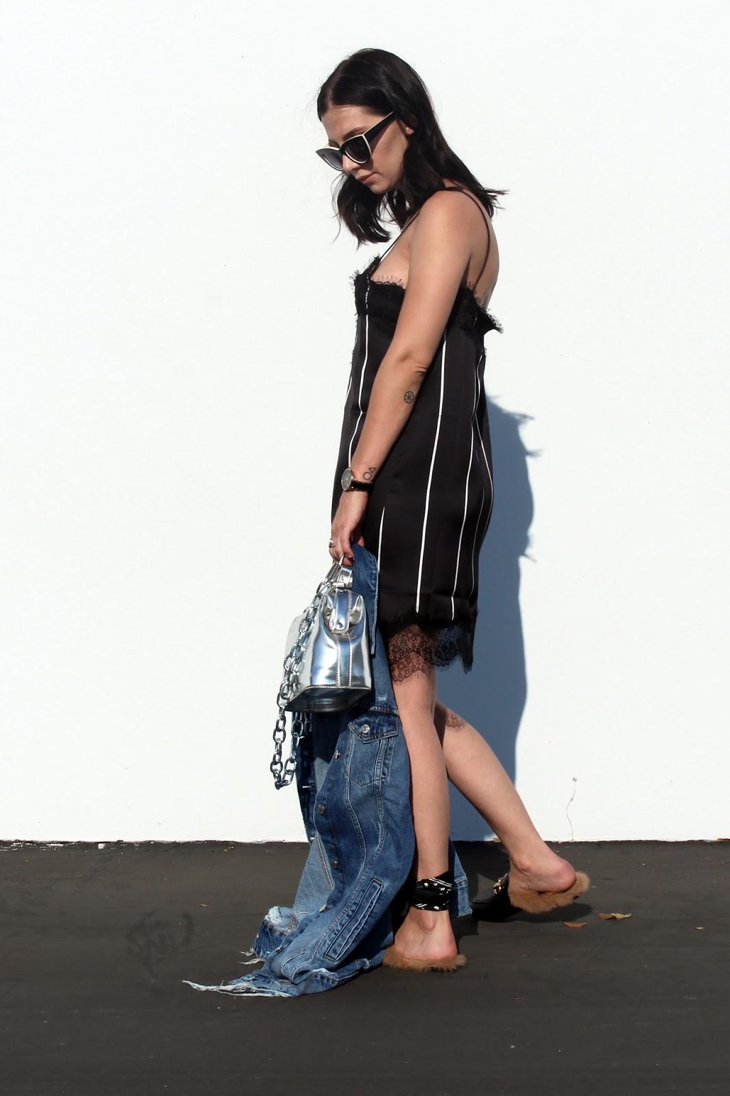 slip dress trend, loafers, denim jacket