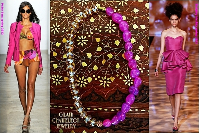 Glam Chameleon Jewelry pink candy jade and beige crystals necklace