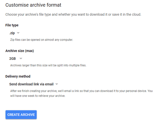 Customize Archive Format