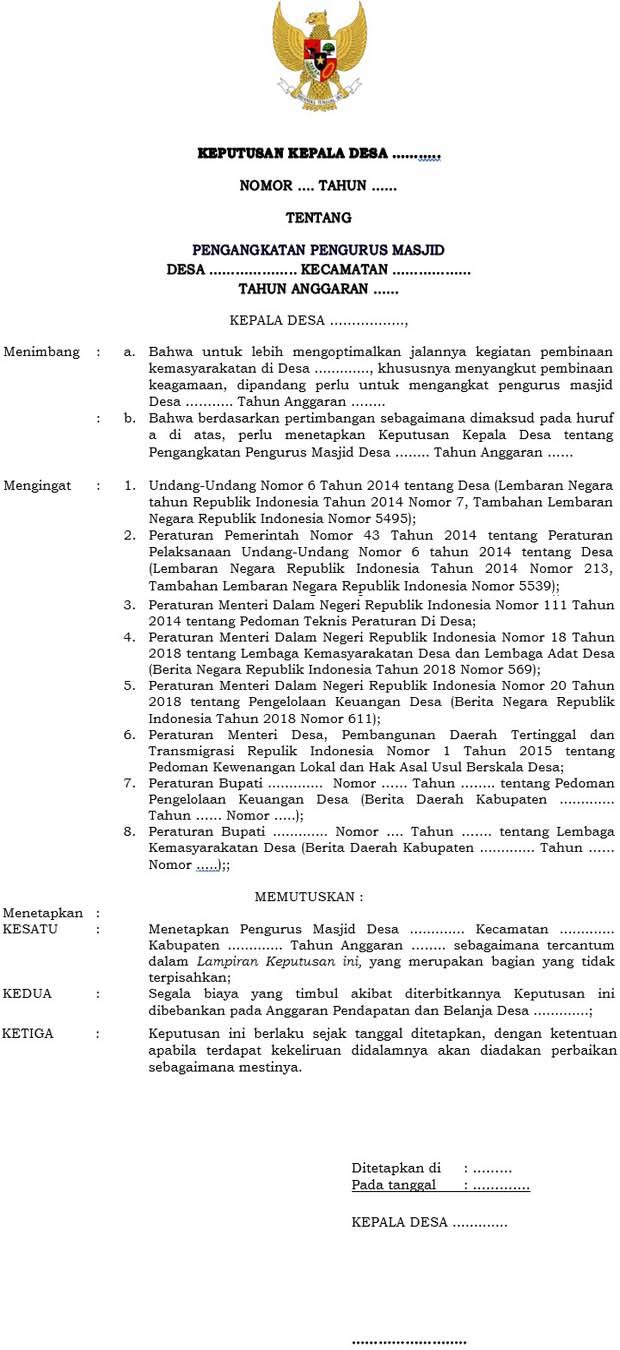 Contoh SK Pengurus Masjid Dari Kepala Desa