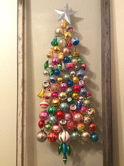 Shiny Brite Christmas ornament tree screen door