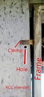 fixing wooden door frame with RCC
