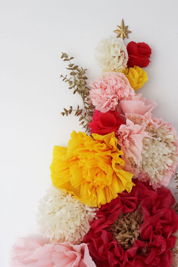 Diy Wall Flowers: A Floral Wall Holiday Tree + Paper Flower Tutorials