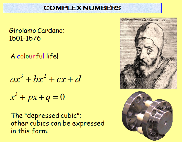 complex number  concept with solved example,girolamo,cardano