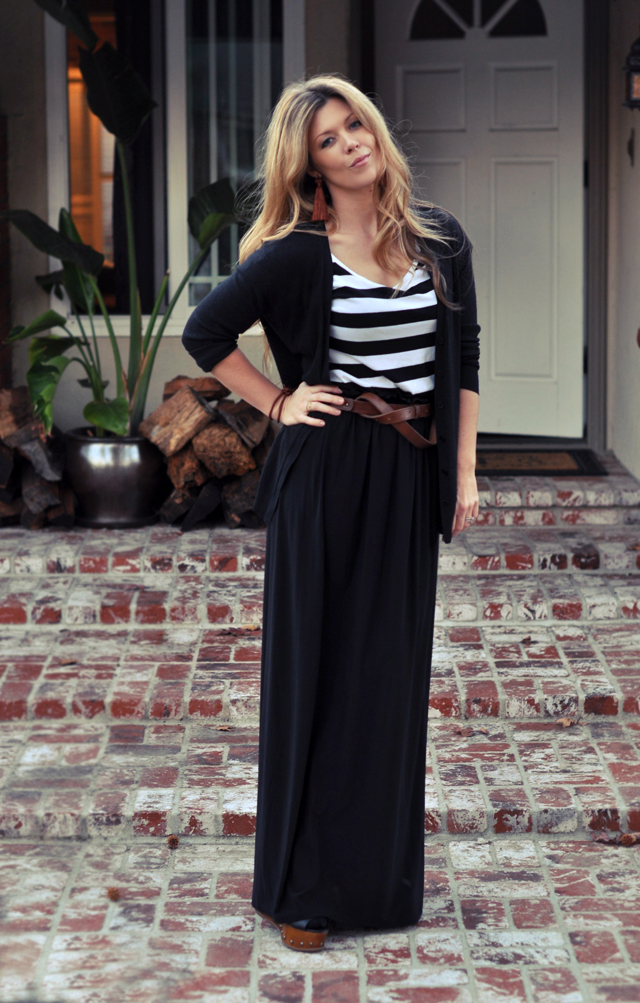 maxi skirt with striped t-shirt