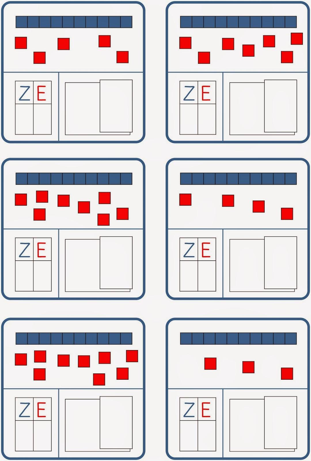 Lernstübchen: Zehner blau und Einer rot