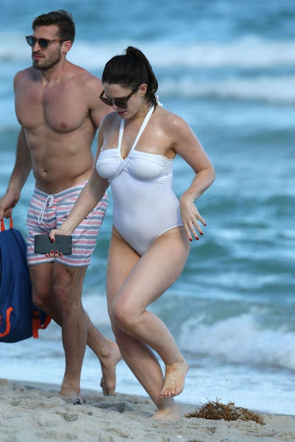 Susie Amy in White Swimsuit on Miami Beach