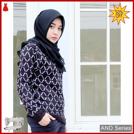 AND410 Sweater Wanita Terre Hitam Rajut BMGShop