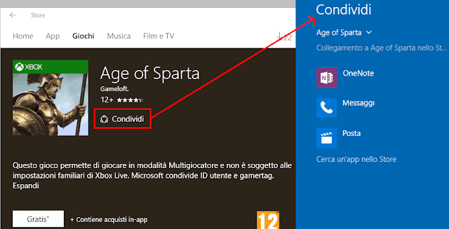 Condividere app Store Windows 10