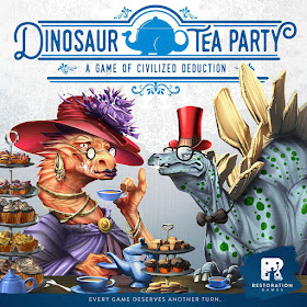 The box cover: an orange dinosaur holding a teacup and a pale blue stegosaurus with green spots, both wearing fancy tea party clothing such as hats, brooches, and bow ties, at a table adorned with tea and small cakes. Under the title is the byline, 'A game of civilized deduction.' At the bottom it reads, 'Every game deserves another turn.'