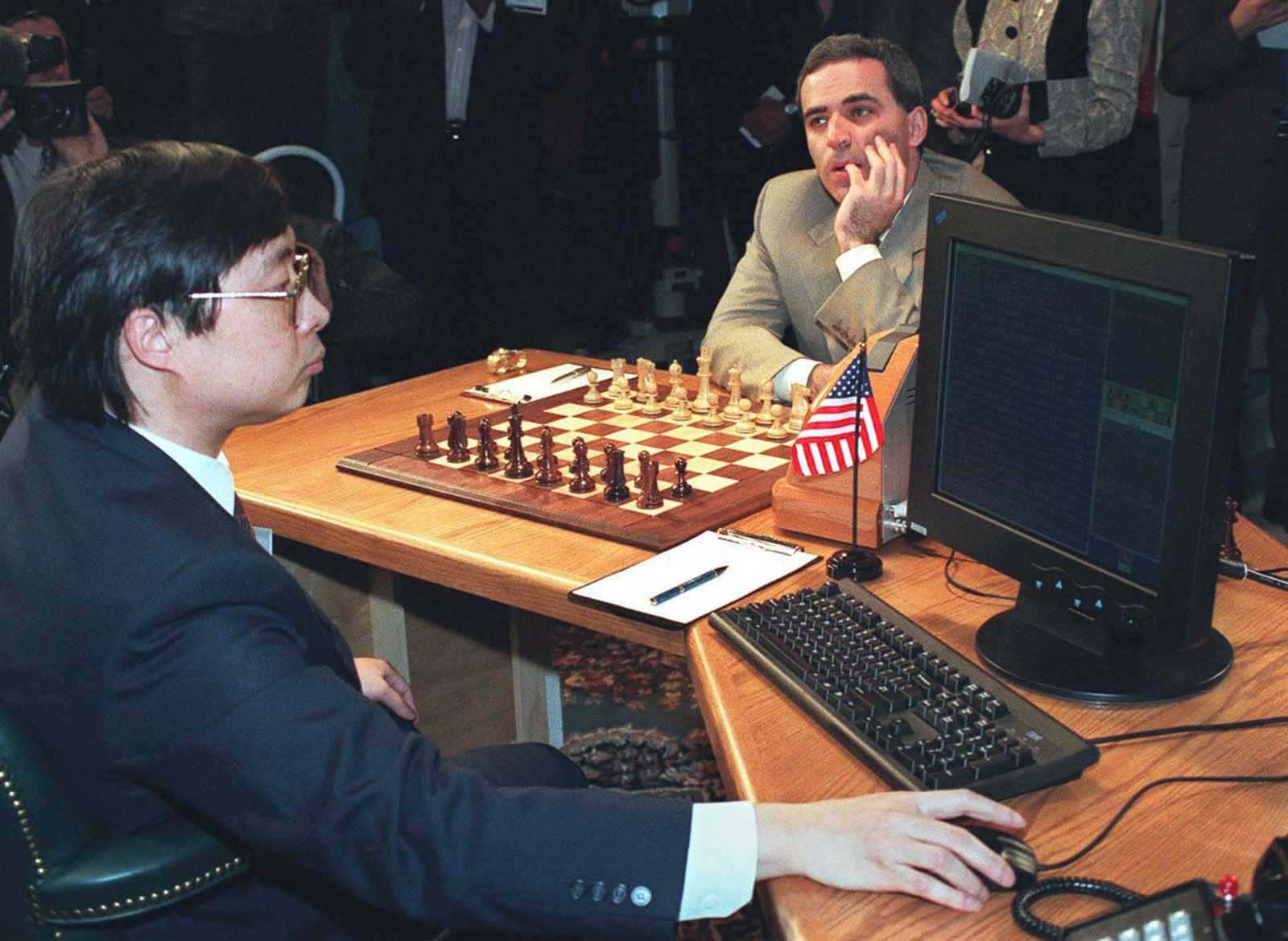 Feng-hsiung Hsu prepares Deep Blue before Kasparov makes his opening move in the first of six games.