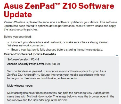 Verizon Asus ZenPad Z10 Update Rolling Out with  Android 7.0 Nougat