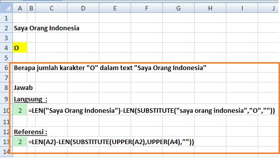 Rumus Excel LEN Menghitung Huruf Tertentu