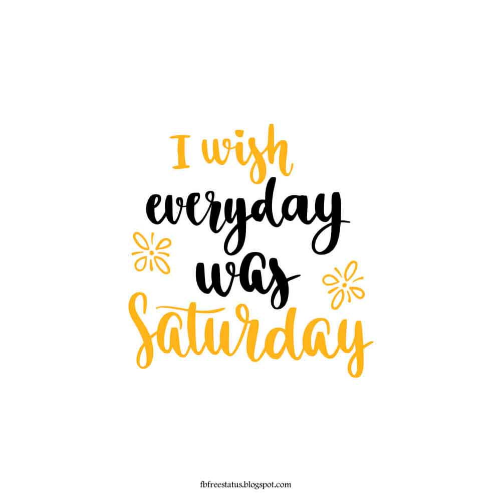 I wish everyday was saturday.