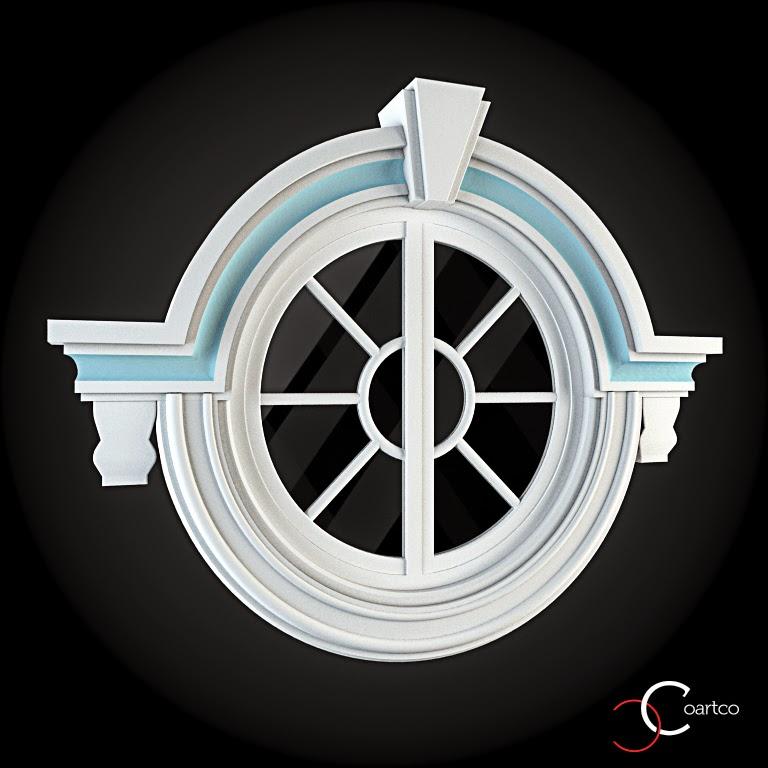 Ornameate Geamuri Rotunde Exterior, fatade case cu profile decorative polistiren, profile fatada,  Model Cod: WIN-081