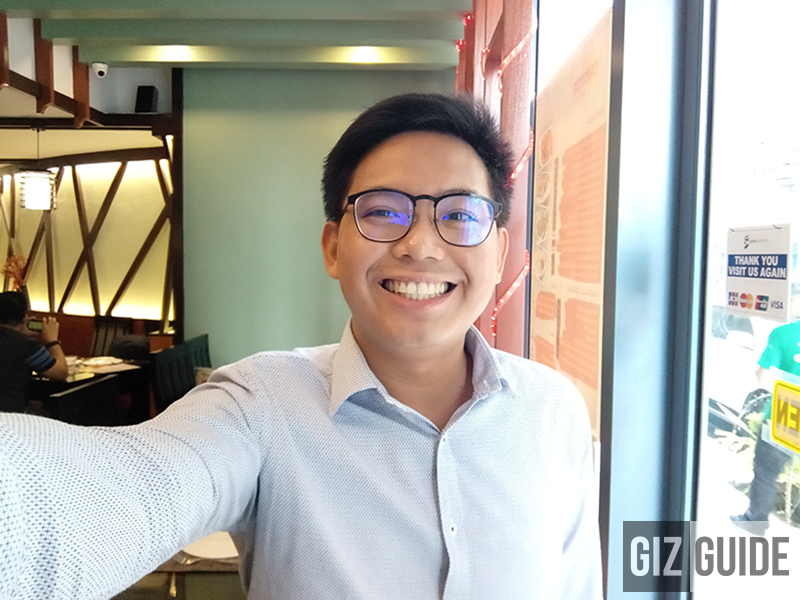 Wide angle selfie test in beautify mode